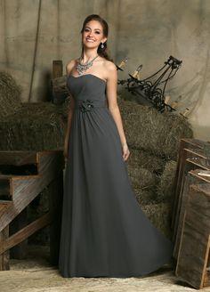 Da Vinci 60228 A-line Dress Chiffon Pleated Bodice Floral Waist Strapless 49125a300e04