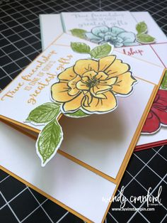 flower cards Fun Fold Cards using Stampin' UP! To A Wild Rose Fun Fold Cards, Folded Cards, Interactive Cards, Stamping Up Cards, Making Ideas, Paper Flowers, Cardmaking, Stampin Up, Birthday Cards