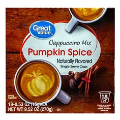 Great Value Pumpkin Spice Cappuccino Mix Naturally Flavored Single Serve Cups -- Be sure to check out this awesome product.