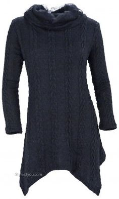 Tegan Ladies Cowl Neck Cable Knit Sweater Shirt Dress In Black  Refashion from oversize sweater?
