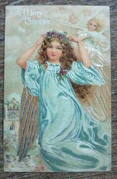 Vintage Happy Christmas Postcard Angel Wings Tuck Chromographed Prussia Embossed | eBay