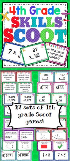 4th Grade Math Skills Scoot Mega Bundle - Make math class something to look forward to! Scoot is a fast paced, whole class game that is simple to make and LOTS of fun! Your students will have a blast working on 4th grade math skills with this set of 27 Scoot games! These Scoot cards are also great for centers and small groups! $