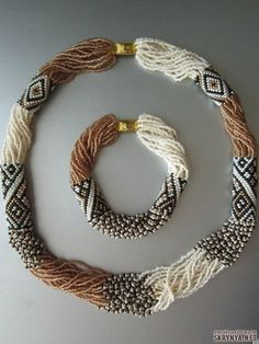 Peyote stitch tube beads, with many strings of seed beads running through.