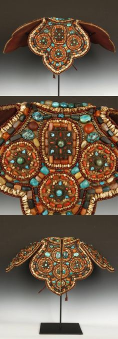 India ~ Ladakh | Collar; turquoise, carnelian, coral, mother of pearl, agate, silver and cotton | 20th century | POR