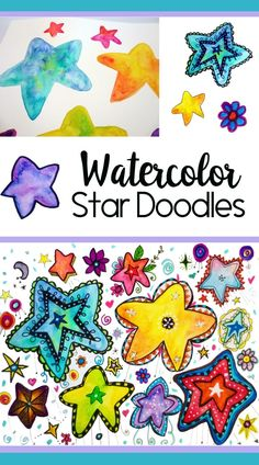 Painted and Doodled Stars Tutorial - Grundschule Doodle Drawings, Easy Drawings, Star Doodle, Elementary Art Lesson Plans, Art Inspiration Drawing, Ecole Art, Flower Doodles, Doodle Flowers, Star Art