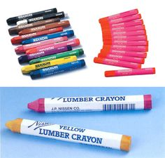 lumber crayons (hardware store) many colors, are water, fade & smear proof on wet or dry wood, metal, concrete & most surfaces.
