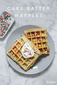 Cake Batter Waffles - Breakfast or dessert? You decide. via @PureWow