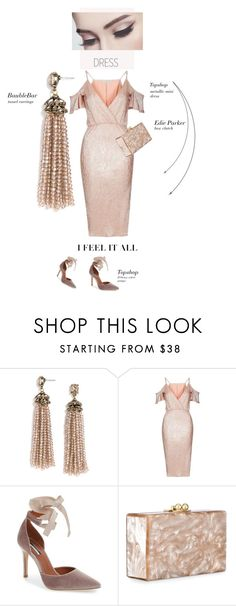"""Pale pink"" by theitalianglam ❤ liked on Polyvore featuring BaubleBar, Rare London, Topshop, Edie Parker, topshop, velvet and under100"