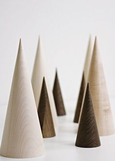 Wood / Minimalist Christmas Decor - solid wood cone shaped trees