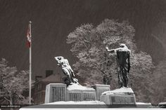 Night shot at Peterborough Cenotaph during a snowstorm Peterborough Ontario, Night Shot, G Adventures, Local History, Old City, Love Photography, Small Towns, Toronto, Random Stuff