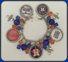 Houston Astros Charm Bracelet MLB Unique Custom Made Sports & Themed Jewelry nfl nba nhl ncaa nsl mlb charm bracelet by SportsnBabyCouture on Etsy