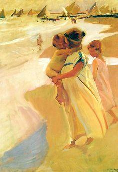 After bathing, Valencia, Joaquín Sorolla Medium: oil,canvas Valencia, Oil Canvas, Vincent Van Gogh, Spanish Painters, Art Et Illustration, Vintage Artwork, Beach Art, Mellow Yellow, Pictures To Paint