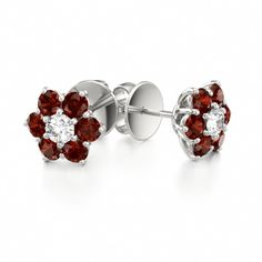 Floral Earrings Spring Bloom #garnet #diamond #earrings