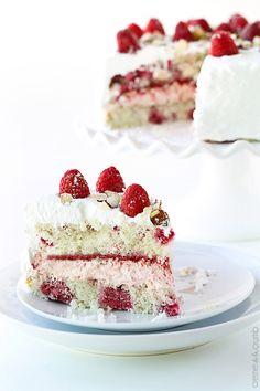 Chilled Raspberry Almond Cake - Creme De La Crumb