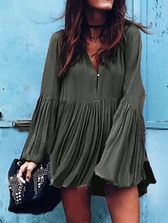 Army Green V Neck Flare Sleeve Ruched Mini Dress