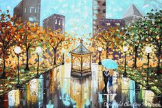 "GICLEE PRINT Art Abstract Painting Couple Blue Umbrella City Park Romantic Canvas Prints Gold Wedding Wall Decor xl sizes to 60"" - Christine - Christine Krainock Art - Contemporary Art by Christine - 3"