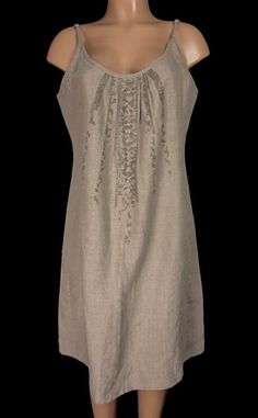 EILEEN FISHER Dress Size L Large Heathered Brown Organic Cotton Sequin Front #EileenFisher #Sheath #Casual