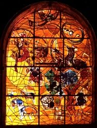 The tribe Joseph ~ The twelve windows were created by Marc Chagall for the Synagogue of the Hadassah hospital in Jerusalem. They symbolize the twelve sons of Jacob, which made the twelve tribes of Israel. Marc Chagall, Stained Glass Art, Stained Glass Windows, Chagall Windows, Chagall Paintings, Sons Of Jacob, Sandblasted Glass, Coloured Glass, Stage Set