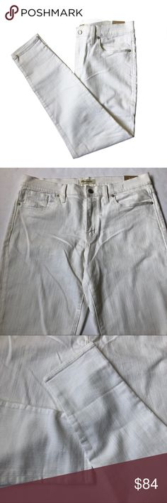 """Madewell 9"""" High-Rise White Skinny Jeans Size 32 White skinny jeans from Madewell. New with tags, never worn. Size 32.   91% cotton/7% poly/2% elastane denim Specially woven to counteract the whole show-through factor. Matte silver button, tonal stitching. Sit above hip, fitted through hip and thigh, with a slim leg.  Measurements (not doubled, approximate and taken with garment laid flat): - Waist: 17.25"""" - Hips: 19.25"""" - Rise: 11"""" - Thigh: 11.25"""" - Inseam: 28"""" - Leg opening: 5.25"""" - Total…"""