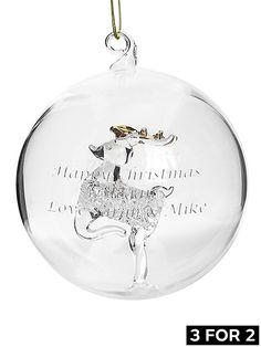 Personalised Reindeer Glass Christmas Tree Bauble | very.co.uk #VeryChristmasCrib