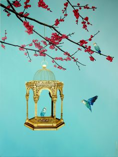 A personal favourite from my Etsy shop https://www.etsy.com/uk/listing/536022683/love-birds-and-cherry-blossom-signed