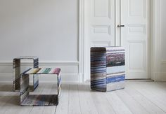 lars hofsjö, stockholm-based designer and founder of swedish furniture brand rumbler, has reinterpreted the items into a collection of tables named 'torp' and 'dunker'. Green Building, Sustainable Design, Mid Century Design, Magazine Design, Architecture Design, Rag Rugs, Recycling, Indoor, Product Design