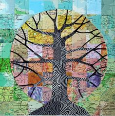 Map Tree    Mixed media collage with vintage atlas papers, 8x8 inches. I pinned it originally to Maps, but now I am thinking of some sort of art therapy idea...