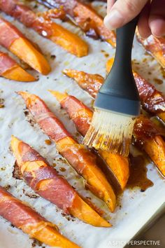 Maple Glazed Prosciutto Wrapped Sweet Potatoes Recipe - A fabulous holiday recipe with sweet sumptuous sweet potato wedges and crispy prosciutto ham. No Cook Appetizers, Appetizers For Party, Appetizer Recipes, Easy Delicious Recipes, Easy Recipes, Easy Meals, Glazed Sweet Potatoes, Sweet Potato Wedges, Party Food And Drinks