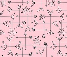 Atomic Mobiles fabric by studioxtine on Spoonflower - custom fabric Retro Fabric, Pink Fabric, Vintage Fabrics, Vintage Patterns, Retro Pattern, Pattern Art, Pink Wallpaper, Pattern Wallpaper, Mid Century Wall Art