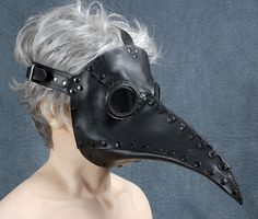 """This is on sale at Etsy???? What is it?  Plague Doctor mask in black leather """"Schnabel"""". $215.00, via Etsy."""