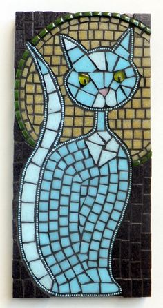 Mysterious Kitty by Mollycat Mosaics - Outlined in powder blue seed beads, then completed with two shades of sky blue vitreous glass, including luminous yellow-green eyes & an adorable pink nose.