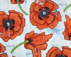 Poppy Fabric Big Poppy in Spice for Michael Miller Fabrics 1/2 Yard