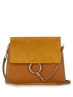 CHLOÉ Faye Medium Suede And Leather Shoulder Bag. #chloé #bags #shoulder bags #lining #suede #