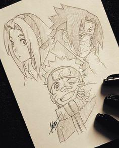 """Sketch of """" Team 7 """" 😄 Uzumaki Naruto 🐺, Haruno Sakura 🌸, Uchiha Sasuke. Naruto Drawings, Sasuke Drawing, Naruto Sketch Drawing, Anime Drawing Styles, Anime Character Drawing, Anime Drawings Sketches, Anime Sketch, Sasuke Uchiha, Anime Naruto"""
