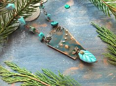 Your place to buy and sell all things handmade Bohemian Jewelry, Wire Jewelry, Handmade Jewelry, Body Adornment, Jewelry Design, Designer Jewelry, Turquoise Pendant, Copper Wire, Statement Jewelry
