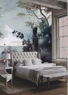 My kind of a bedroom. Love this wallpaper for a one wall background room focus ♔ Le jardin au flamant rose, Wallpaper by Ananbô Home Bedroom, Master Bedroom, Bedroom Decor, Interior And Exterior, Interior Design, Of Wallpaper, Perfect Wallpaper, Bedroom Wallpaper, Painting Wallpaper