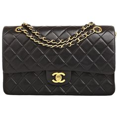 Chanel Vintage Black Quilted Lambskin Large Classic 2.55 Double Flap... ($3,500) ❤ liked on Polyvore featuring bags, handbags, lambskin handbags, lamb leather purse, lamb leather handbags, quilted bag and lambskin leather purse