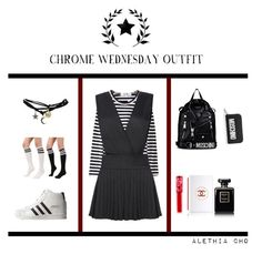 """""""CHROME WEDNESDAY OUTFIT"""" by alethia-cho on Polyvore featuring Comme des Garçons, adidas, Wet Seal, Moschino, Lime Crime, Chanel, women's clothing, women, female and woman"""