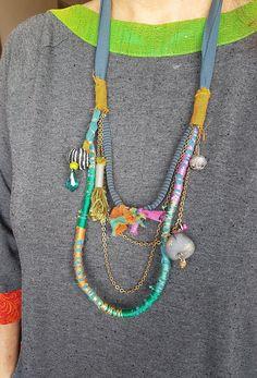Colorful Multi strand Necklace Eco Friendly Necklace Textile