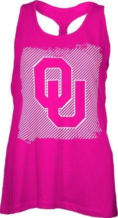 Oklahoma Sooners Tank Top- Womens Neon Pink Cinch Back Tank Top