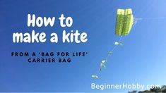 A free step by step tutorial to make a kite that flies! Make this real diy kite from household items and a bag-for-life! Family Art Projects, Diy Projects To Try, Kite Making, Hobbies To Try, Outdoor Paint, Diy Videos, Household Items, How To Make, Kites Diy