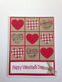 Who doesn't love a great game of Tic Tac Toe? Especially when it involves love! This card has lots of fun hearts in cute patterns! The kit includes all the supplies needed to make 5 complete cards plus envelopes. Valentines Day Cards Handmade, Valentine Greeting Cards, Valentine's Day Greeting Cards, Valentine Crafts, Greeting Cards Handmade, Homemade Valentine Cards, Happy Valentines Day, Thanksgiving Cards, Holiday Cards