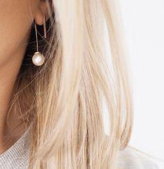 Pearl drop double sided earring