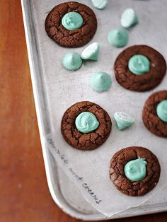 Chocolate-Mint Creams....Pastel mint meltaway candies are the perfect St. Patrick's Day topping for these crinkly chocolate cookies. Make them look extra fancy by using a knife to gently swirl the chocolates into the fresh-from-the-oven cookies.