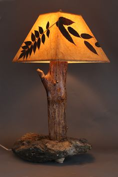 Hand-crafted rustic wood lamp with stone base, elm stem and sumac leaf shade – Rustic Wood Lamps