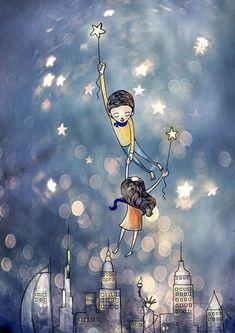 By Vimal Chadran Love Cartoon Couple, Romantic Art, Animated Love Images, Fantasy Art, Imagination Art, Illustration Art, Art, Sky Art, Love Art