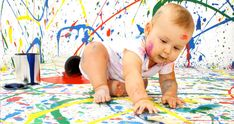 Teaching Baby to Crawl: Educational toys and tips Baby Painting, Painting For Kids, Photography Mini Sessions, Newborn Photography, Cute Baby Pictures, Baby Photos, Teach Baby To Crawl, Smash The Paint, Teaching Babies