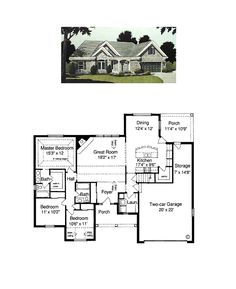 Ranch House Plan 97740 | Total Living Area: 1593 sq. ft., 3 bedrooms and 2 bathrooms. #ranchhome