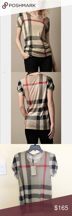 Authentic Burberry Top burberry brand cotton plaid women short sleeve T-shirt .  ❌ NO TRADE ❌ Burberry Tops Tees - Short Sleeve