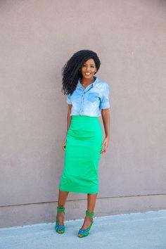 Denim Shirt + Green Pencil Skirt | Style Pantry